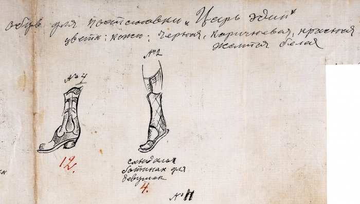 Якулов Георгий Богданович (1884–1928) (?) Эскизы обуви для постановки трагедии Софокла «Царь Эдип». 1921. Бумага, тушь, перо, 28x41,7см.