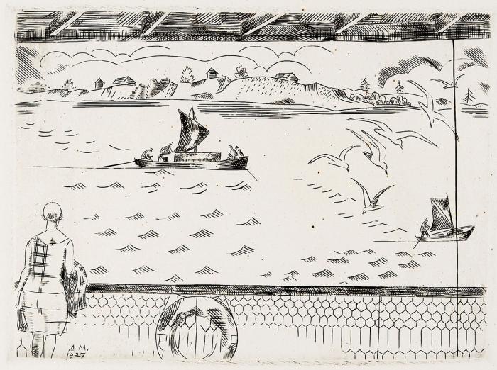Митрохин Дмитрий Исидорович (1883–1973) «Напирсе (НаСеверной Двине)». 1927. Бумага, резец, 20,7x29см (лист).