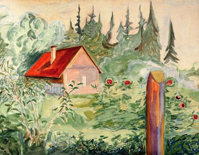 Эндер Ксения Владимировна (1895-1955) «Петергоф. Домик взелени». 1937. Бумага, акварель, белила, 31x39,5см.