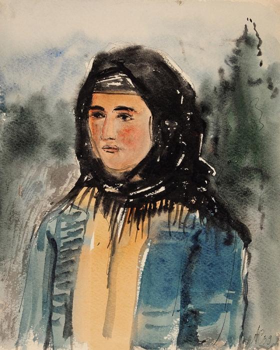 Софронова Антонина Фёдоровна (1892–1966) «Женский портрет». Изсерии «Гудауты». 1939. Бумага, тушь, перо, акварель, 25,3x20,2см.