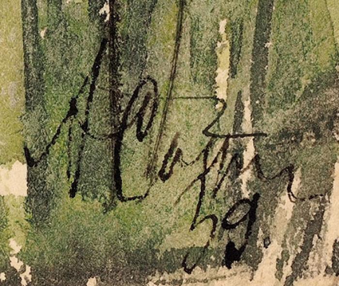Софронова Антонина Фёдоровна (1892–1966) «Пейзаж». Изсерии «Гудауты». 1939. Бумага, тушь, перо, акварель, 20,2x7,8см.