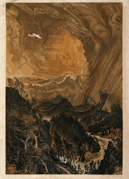 Староносов Петр Николаевич (1893–1942) «Над тайгой». 1939. Бумага, линогравюра, 55,4x40см (лист).