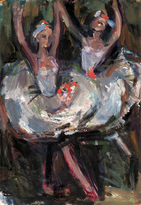 Кольцова-Бычкова Александра Григорьевна (1892–1985) «Балерины». 1930-е. Картон, масло, 49,5x35см.
