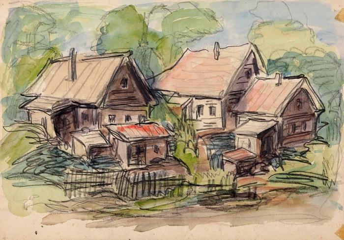 Кольцова-Бычкова Александра Григорьевна (1892–1985) «Летний день». 1930-е. Бумага, графитный карандаш, акварель, 22,8x32,4см.