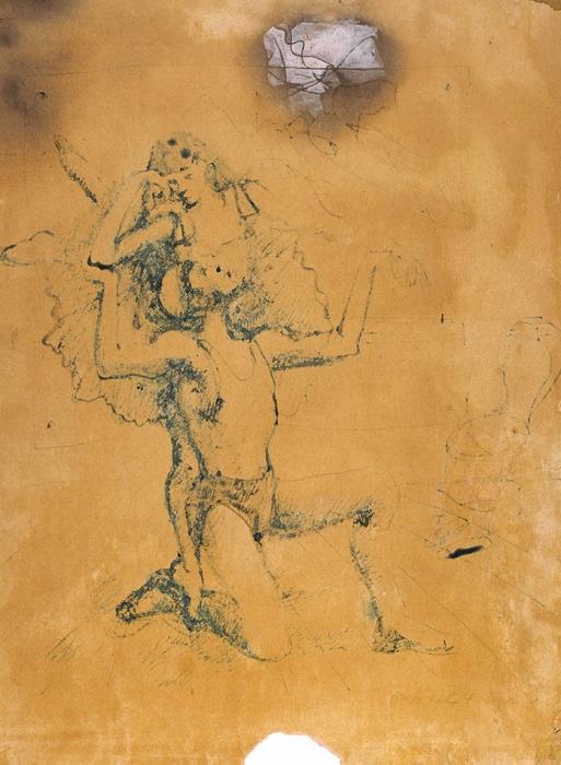 Челищев Павел Федорович (1898–1957) «Двое (балет)». 1930-е. Бумага, тушь, сепия, перо, белила, 33,4x25,1см.