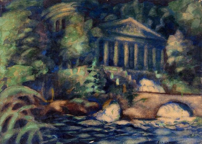 Иофан Борис Михайлович (1891–1976) «Пейзаж». 1930-е. Бумага, акварель, белила, 15,5x22см.