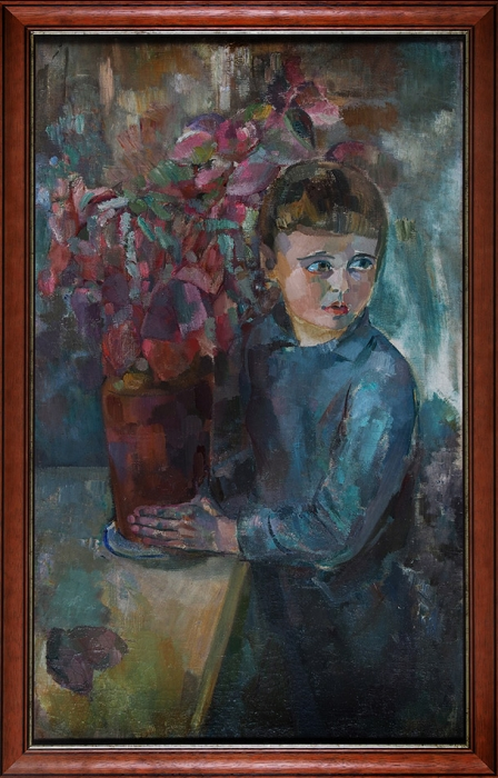 Фрумак Рувим Залманович (Соломонович) (1905–1978) «Мальчик сцветком». 1930-е. Холст, масло, 101,3x62см.