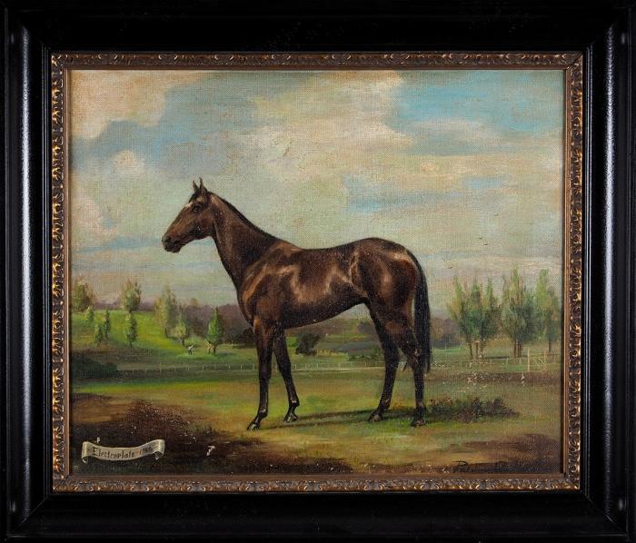 [Подарок модельера Ральфа Лорена] Неизвестный художник «Лошадь». 1950. Холст, масло, 45x55,5см.