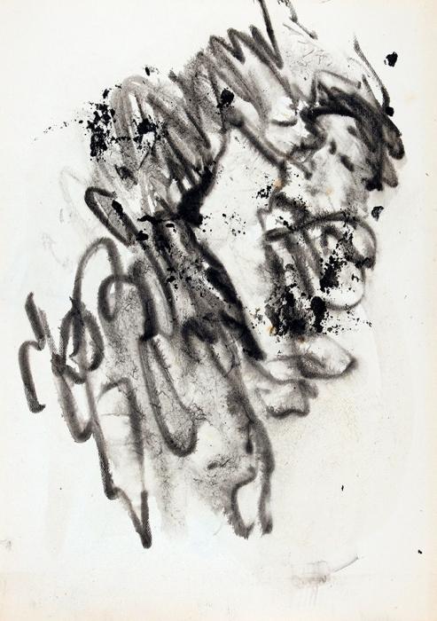 [Собрание Г.Д. Костаки] Зверев Анатолий Тимофеевич (1931–1986) «Портрет. Набросок». Наобороте «Лежащий скнигой». 1953-1959. Бумага, тушь, 27x19см.