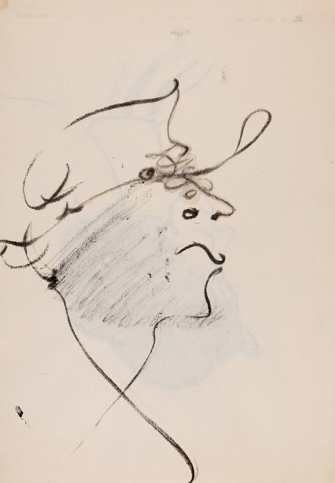 [Собрание Г.Д. Костаки] Зверев Анатолий Тимофеевич (1931–1986) «Гротескный автопортрет вшляпе». Наобороте «Женский профиль». 1955-1959. Бумага, тушь, 28,7x20,3см.