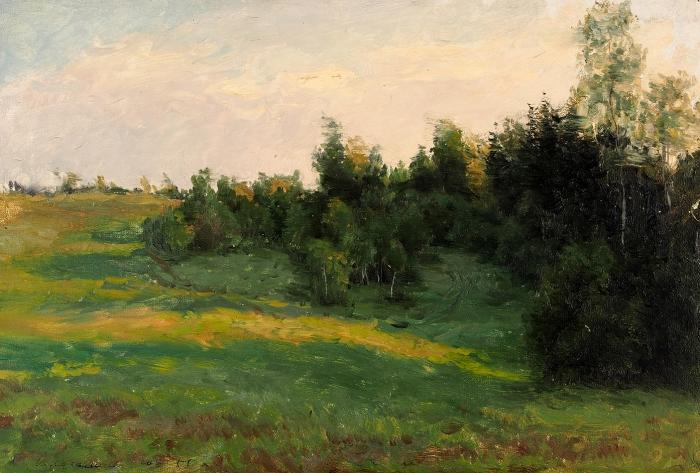 Волков Юрий Александрович (1919–1990) «Пейзаж». 1955. Картон, масло, 19,7x29,3см.