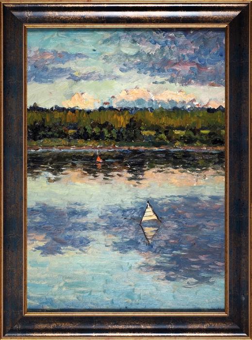 Вечтомов Николай Евгеньевич (1923–2007) «Вечерняя тишина наОке». 1956. Картон, масло, 50x35см.