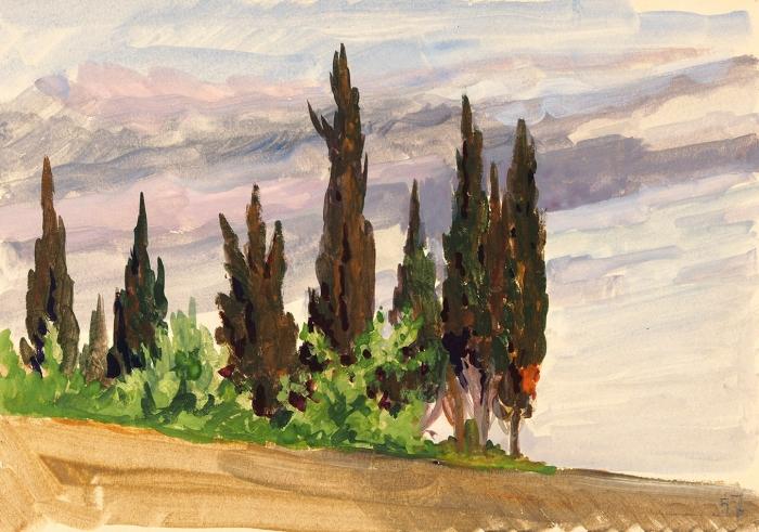 Серебрякова Татьяна Борисовна (1912–1989) «Лазаревское». 1957. Бумага, акварель, белила, 18,8x27см.