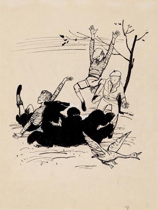 [Мастера книжной иллюстрации] Лемкуль Федор Викторович (1914–1995) Илюстрация ккниге Ф.Лангера «Братство Белого ключа». Рис.18. 1959. Бумага, тушь, белила, 21x16,3см.