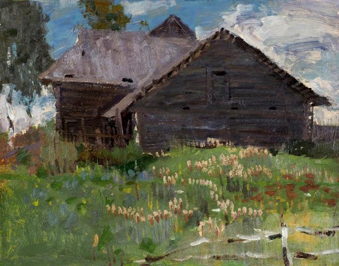 Моисеенко Евсей Евсеевич (1916–1988) «Сарай». 1950-е— 1960-е. Картон, масло, 36x46,5см.