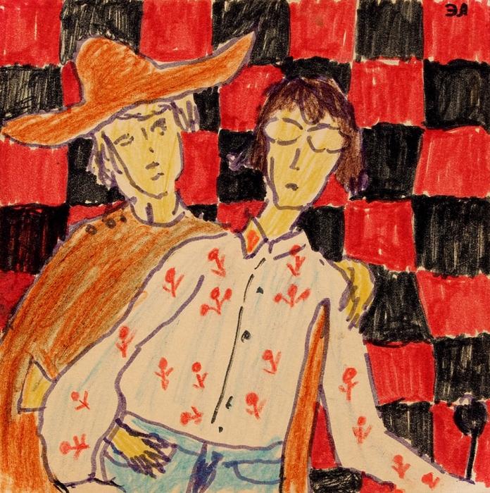 Лимонов Эдуард Вениаминович (Савенко) (1943–2020) «Автопортрет сЕленой». 1968. Бумага, фломастер, цветные карандаши, 10x10см.