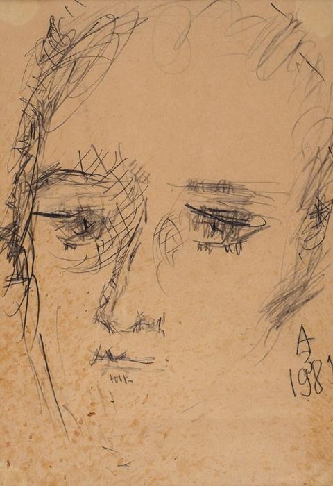 Зверев Анатолий Тимофеевич (1931–1986) «Портрет А.С. Пушкина». 1981. Бумага, графитный карандаш, 29x20см (всвету).