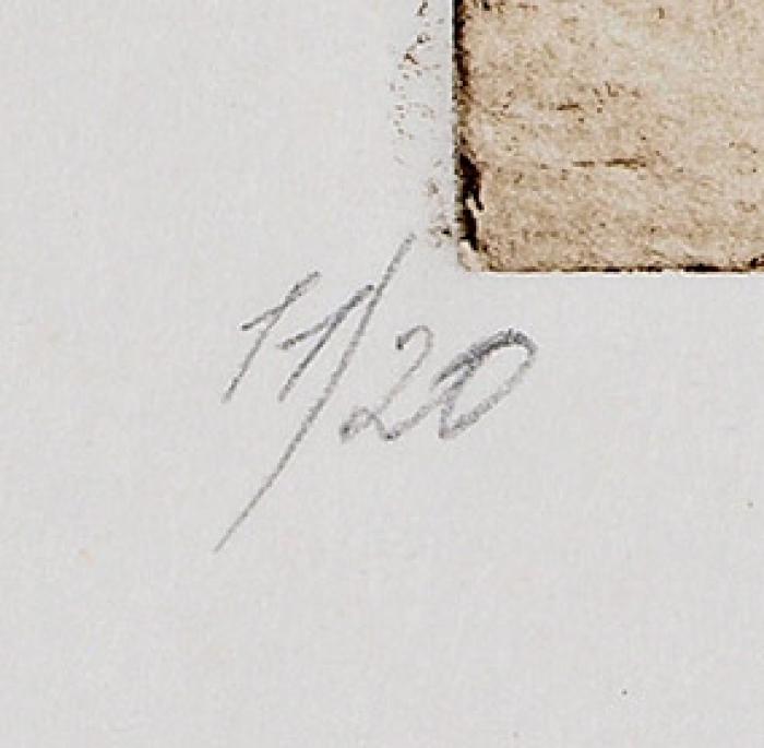 Измайлов Евгений Аскерович (род.1939) «Бумажный человек». Конец ХХвека. Бумага, офорт, 42,5x61см (лист), 32x49,5см (оттиск).