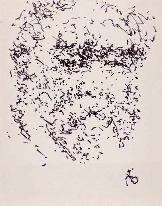 Бух Арон Фроимович (1923–2006) «Автопортрет». 2000-е. Бумага, фломастер, 27,5x21,5см.