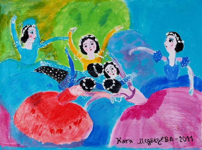 Медведева Катя (род.1937) «Балерины». 2011. Холст, масло, 66x90см.
